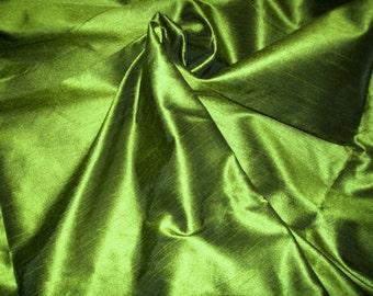 One yard of olive green dupioni silk blend