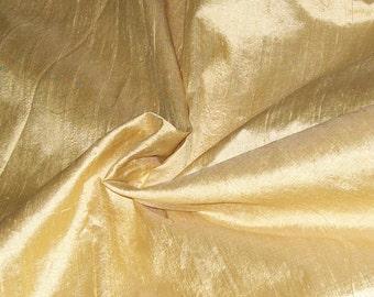 Half yard  gold and beige dupioni silk blend