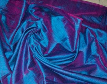 One yard of blue with a tinge of purple 100 percent pure dupioni silk