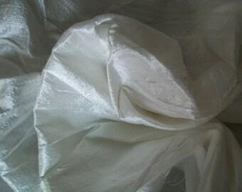One yard white  dupioni silk blend