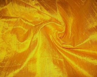 One yard 100% pure dupioni silk in sunny yellow
