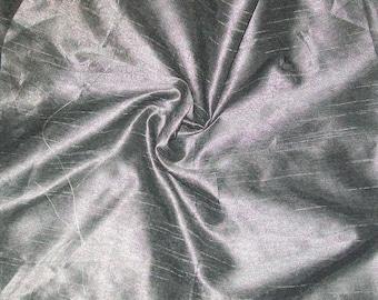 One yard silver grey dupioni silk blend