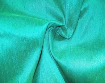 One yard of Aqua blue  dupioni silk blend