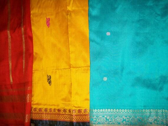 Silk Sari scrap Bundle - Set of three fat quarters