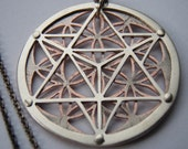 Star Tetrahedron and Flower of Life Pendant - sterling silver and copper - Handcrafted Sacred Geometry Jewellery