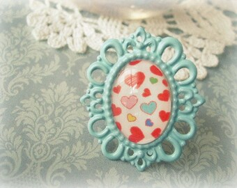 ON SALE  Blue Statement Ring with Lovehearts