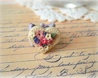 Purple Filigree Ring with Cream Heart with Colorful Flowers