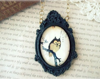 ON SALE Gold Necklace with Black Framed Owl Pendant