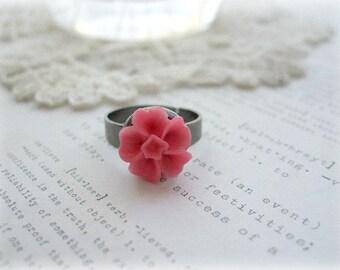 Gunmetal and Dark Pink Sakura Floral Ring