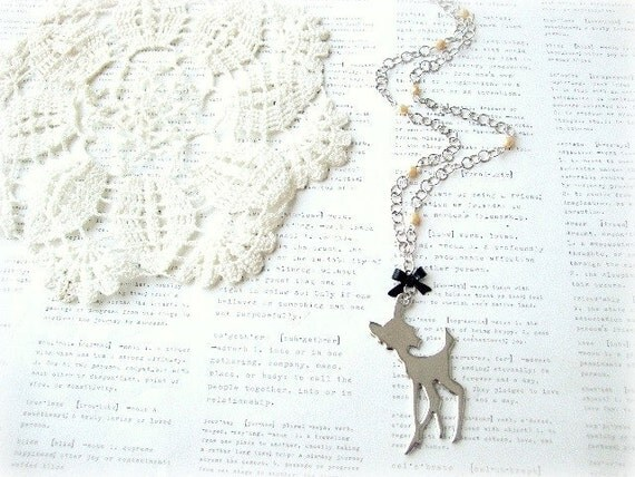 Silver Bambi Necklace with Black Bow