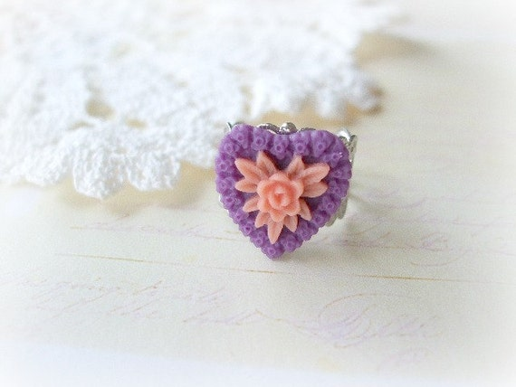 Silver Filigree Cab with Purple and Peach Floral Heart