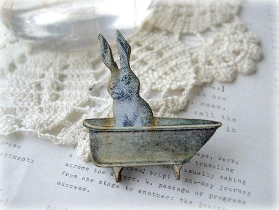 Blue Bunny In The Bath Brooch
