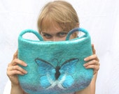 Butterfly Felted Bag - Handmade from Blue Hand Dyed Wool wet felted purse