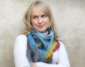 Felted Wool Scarf Cobweb -Generous length - eco wool - Art scarf Peacock - gift under 50 - OOAK