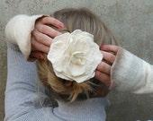 White Rose Felted Flower Brooch or Hair Clip - Brilliance - Single Hand Felted Flower