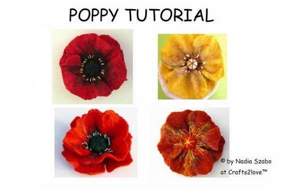 Felt Tutorial Poppy, pattern, felted wool flower, wet felt, felt by hand, felted flower brooch, pdf, e-book instructions