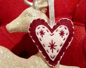 Love Christmas, Set of 2 Felt Decorations - Burgundy
