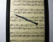 Clarinet Art Print ... On My Old Recycled  Music  ... 8x10 ... Framed ... Item No. A108