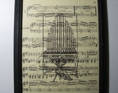 Pipe Organ Art Print ... On My Old Recycled  Music  ... 8x10 ... Framed ... Item No. A110