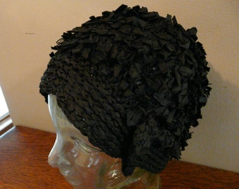 PRICE REDUCED Vintage Black Ribbon Cloche Style Hat