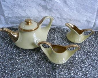 Vintage Yellow Swirl Tea Pot, Sugar & Creamer