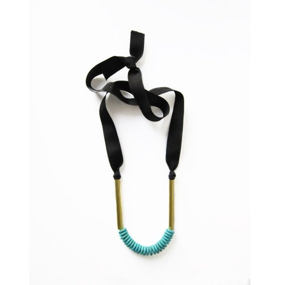 Long turquoise and brass necklace
