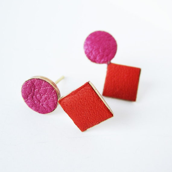 Last two pairs - Brass and leather earrings red and fuchsia