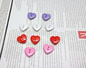 Buttons Heart Shaped Multi Color Set Of 10