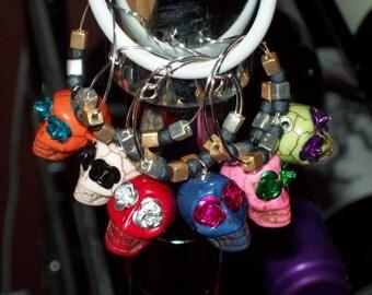 Colorful Fiesta Sugar Skull Wine Charm Set - Day of the Dead, Festive, Calavera, Dia de los Muertos