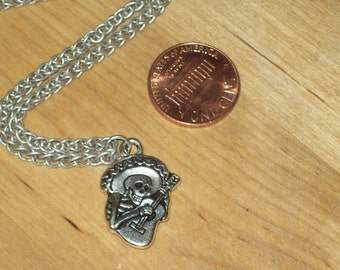 Day of the Dead Mariachi Silver and Pewter Necklace
