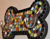 Mosaic Bone Leash Holder - Multi Color Stained Glass