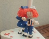 Vintage Adorable Raggedy Ann & Andy Lamp 1970's