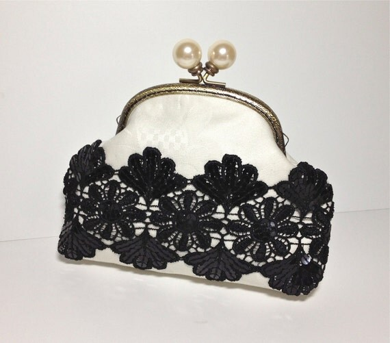 Clutch for Evening in Black Sequins and Off White