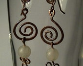 Snow Quartz Dangle Earrings made with Copper Wire