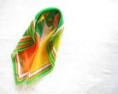 60s Mod scarf / Art deco Scarf // 1960s scarf / Orange yellow & green scarf / size small