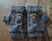 Brown and White Knit Tweed Fingerless Owl Mittens
