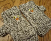 Cream and Brown Knit Tweed Fingerless Snowy Owl Mittens