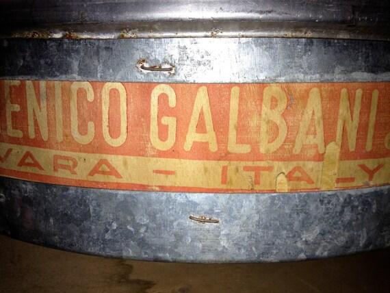 Large Vintage Italian Wood & Metal Cheese Crate 1