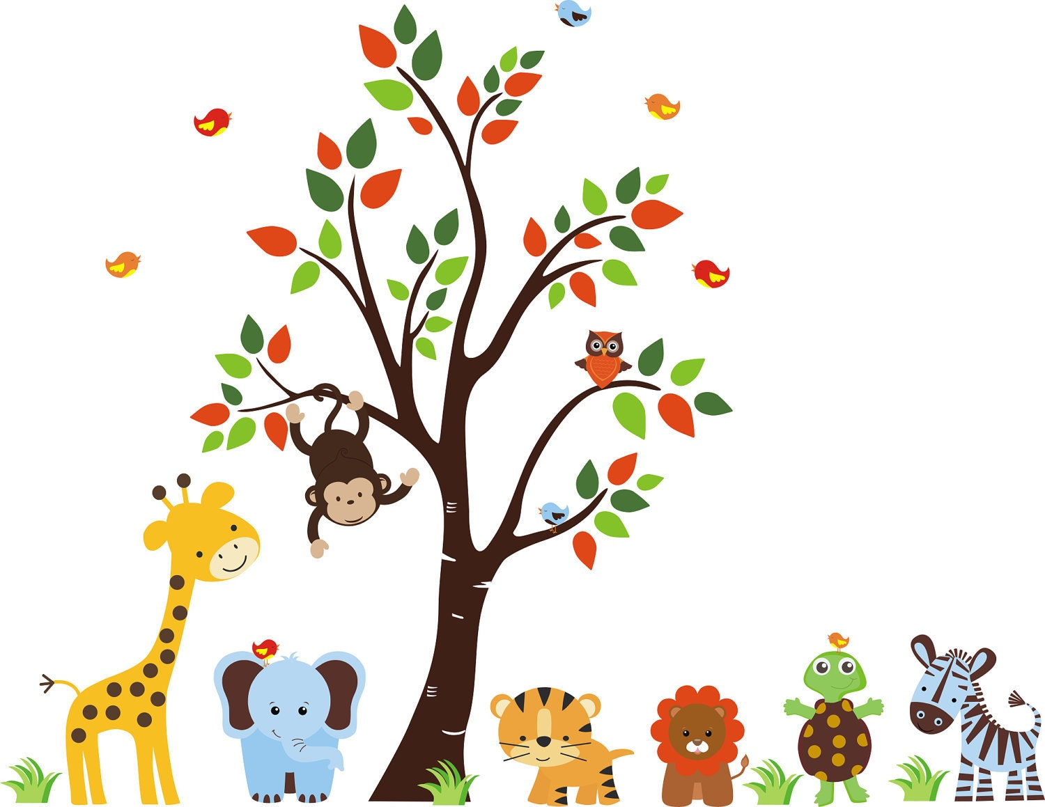 Nursery wall decal baby wall decal childrens by for Baby jungle safari wall mural