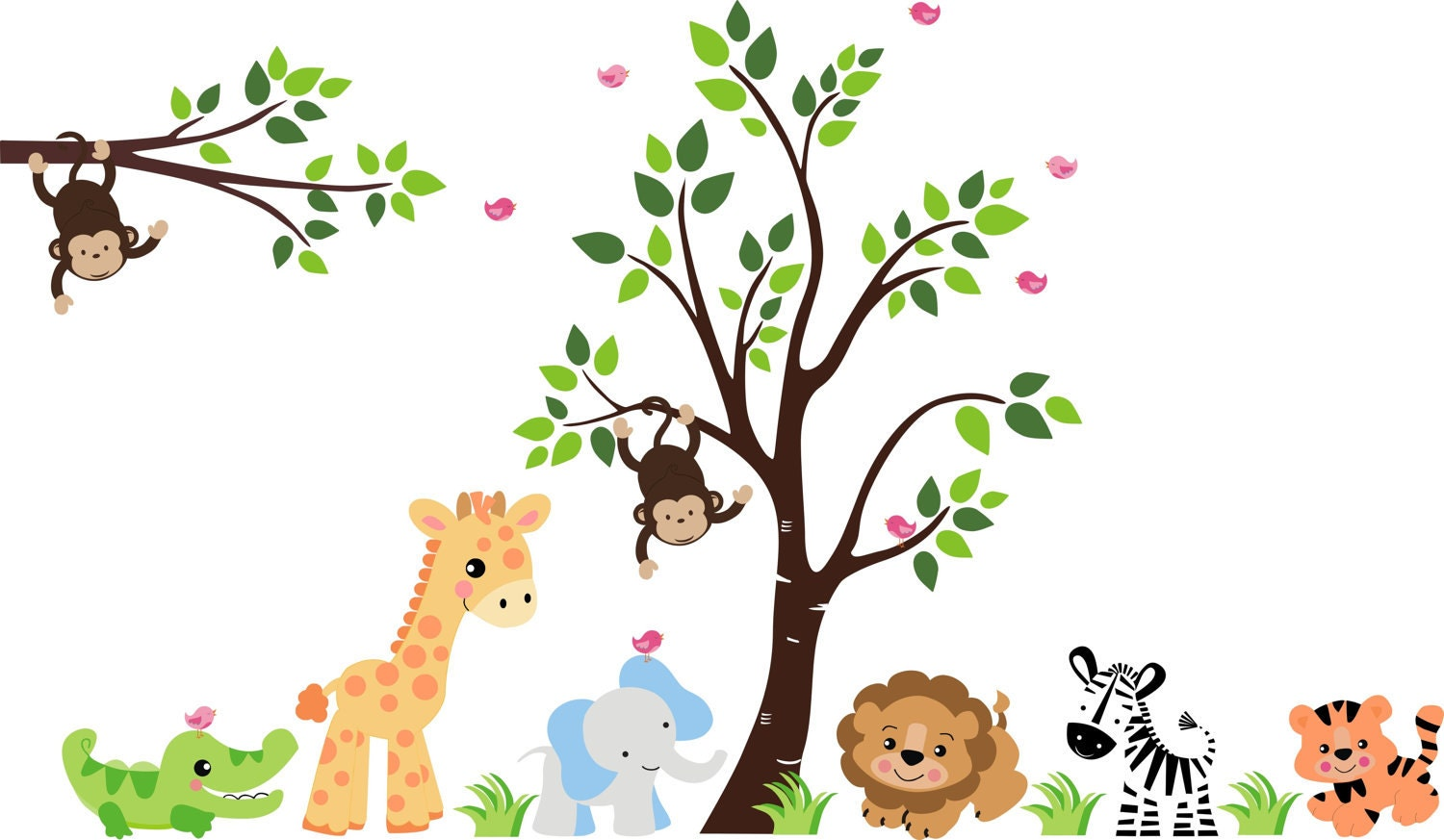 Children wall decals 274 baby wall decals by stickemupwallart for Baby jungle mural