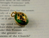 Green Cloisonne Egg from Russia Gold