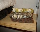 washcloth face cloth cotton crochet set Earth tones handmade