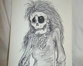 Original art ink watercolor illustration Mort Ad Audeo of Death by Dawn unique book series OOAK zombie ghost