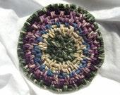 Coffee mat rug Minature handwoven rug style coaster mug mat Songbird colors