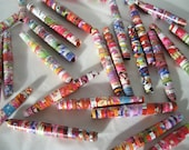 paper beads upcycle pink bright summer mix recycled paper beads 2 inch hair-pipe