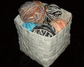6x6x6 inches basket upcycled paper woven out of book pages handmade recycled