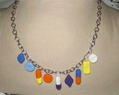 Chill pills geekery necklace colorful clay pill silver nurse doctor humor