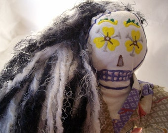 Japanese kimono style Day of the Dead art doll all handmade