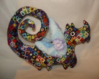 Plush monster ooak Fairy dog unique fabric art doll