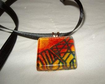 Abstract geometric pendant Glass scrabble tile fire gold and orange dark green